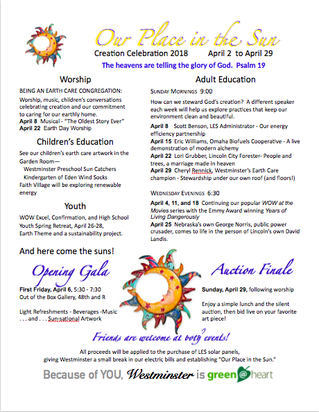 Creation Celebration 2018--Our Place in the Sun, a month-long celebration.