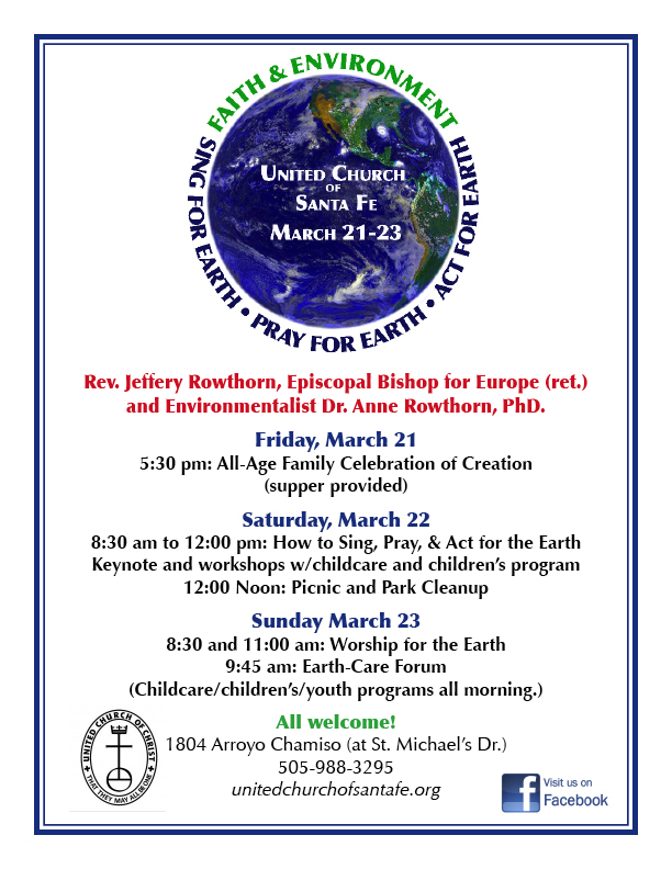 Faith and the Environment Weekend: Sing for the Earth, Pray for the Earth, Act for the Earth