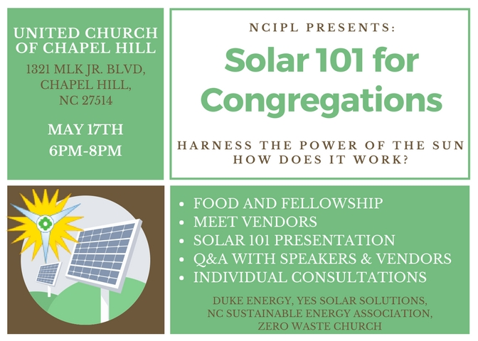 Solar 101 for Congregations - Chapel Hill (Rescheduled)
