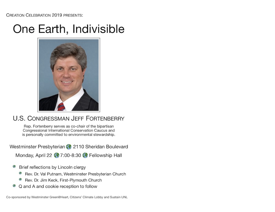 One Earth, Indvisible  -  Presentation by Rep. Jeff Fortenberry