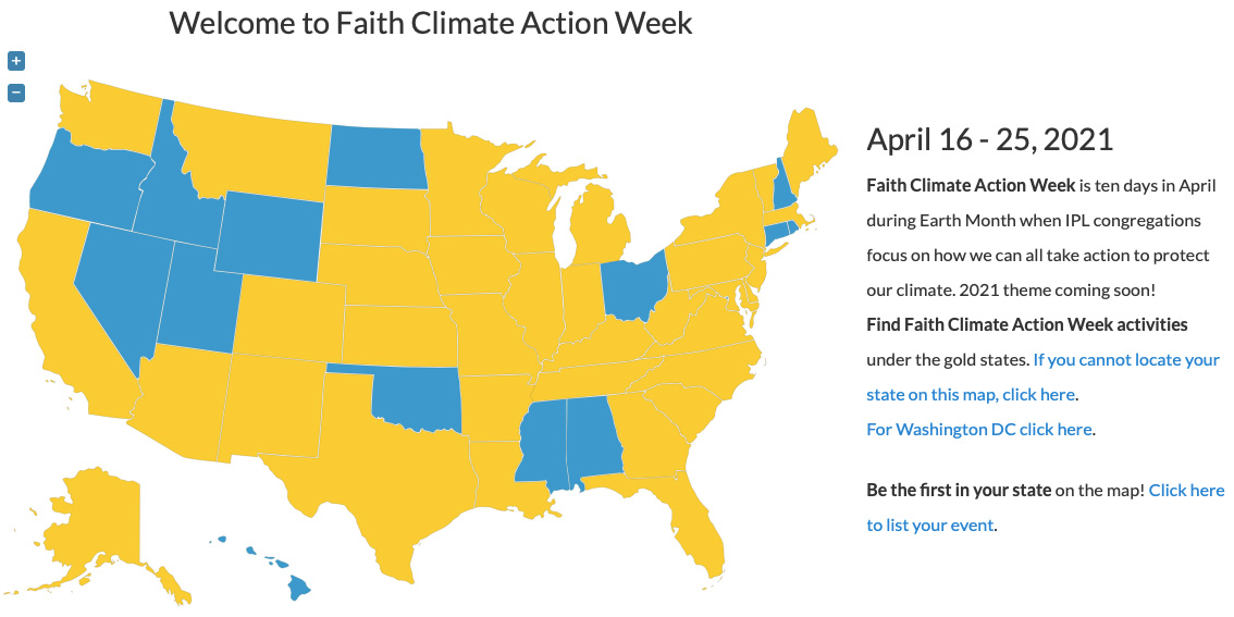Map of Faith Climate Action Week Events